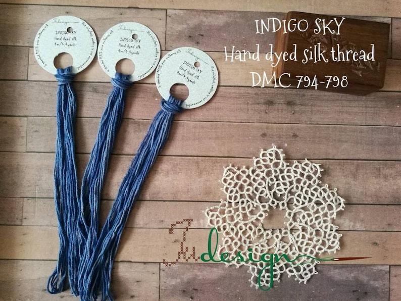 Hand dyed stranded silk floss INDIGO SKY hand dyed thread for embroidery,  cross stitch, punto cruz, point de croix, blackwork