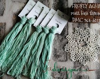 Hand painted matt cotton floss FROSTY AQUA hand dyed thread for embroidery, cross stitch, punto cruz, point de croix, blackwork