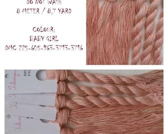 Hand painted matt cotton floss 'BABY GIRL' hand dyed thread for embroidery, cross stitch, punto cruz, point de croix, blackwork