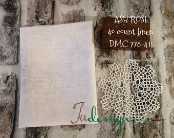 40 count ASH ROSE hand dyed linen for cross stitch, hardanger, blackwork, embroidery works 19x13 inch