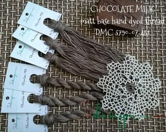 Hand painted matt cotton floss CHOCOLATE MILK hand dyed thread for embroidery, cross stitch, punto cruz, point de croix, blackwork