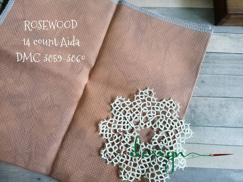 blackwork 14 count ROSEWOOD hand dyed Aida for cross stitch hardanger embroidery works 19x21 inch