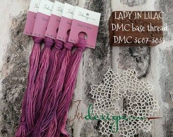 Hand painted cotton floss LADY IN LILAC hand dyed thread for embroidery, cross stitch, punto cruz, point de croix, blackwork