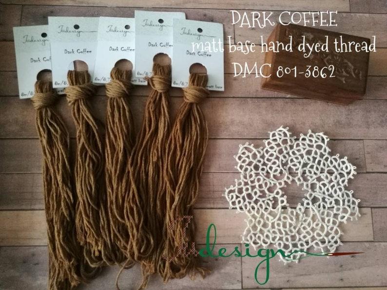 Hand painted matt cotton floss DARK COFFEE hand dyed thread for embroidery,  cross stitch, punto cruz, point de croix, blackwork