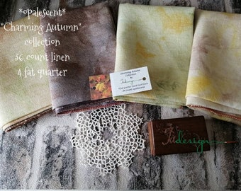 36 count opalescent CHARMING AUTUMN COLLECTION hand dyed linen 4piece for cross stitch, hardanger, blackwork, embroidery works 19x27 inch