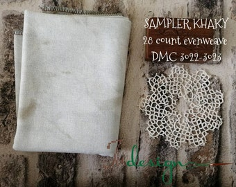28 count SAMPLER KHAKY hand dyed evenweave for cross stitch, hardanger, blackwork, embroidery works 19x27 inch