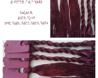 Hand painted cotton floss 'AGED PLUM' hand dyed thread for embroidery, cross stitch, punto cruz, point de croix, blackwork