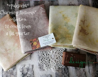 28 count opalescent CHARMING AUTUMN COLLECTION hand dyed linen 4piece for cross stitch, hardanger, blackwork, embroidery works 19x27 inch