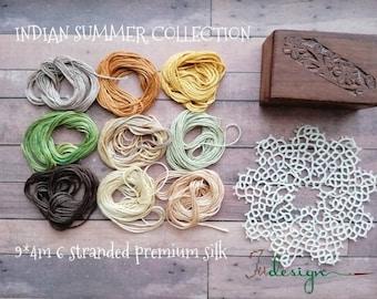 9 skeins of premium silk INDIAN SUMMER collection hand dyed thread for embroidery, cross stitch, punto cruz, point de croix, blackwork