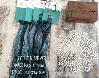 Hand painted cotton floss MY LITTLE BLUEBIRD hand dyed thread for embroidery, cross stitch, punto cruz, point de croix, blackwork