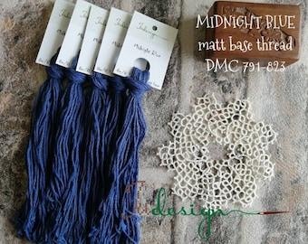 Hand painted matt cotton floss MIDNIGHT BLUE hand dyed thread for embroidery, cross stitch, punto cruz, point de croix, blackwork