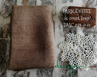 36 count DARK COFFEE hand dyed linen for cross stitch, hardanger, blackwork, embroidery works 38x27 inch