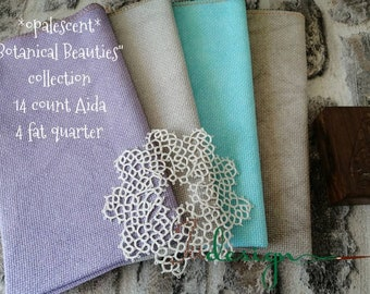 14 count opalescent BOTANICAL BEAUTIES COLLECTION hand dyed Aida 4 piece for cross stitch, hardanger, blackwork, embroidery works 19x21 inch