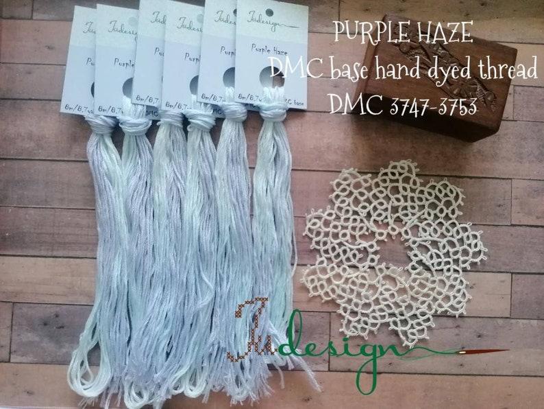 Hand painted cotton floss PURPLE HAZE hand dyed thread for embroidery,  cross stitch, punto cruz, point de croix, blackwork