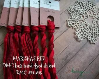 Hand painted cotton floss MARISKA'S RED hand dyed thread for embroidery, cross stitch, punto cruz, point de croix, blackwork