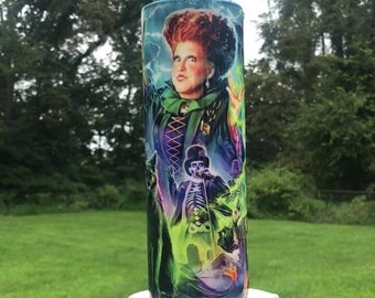 Hocus Pocus Sanderson Sisters Halloween Sparkly Resin Tumbler, It Reeks of Children! Come, We Fly! Enjoy each sip of Witch Brew, Lid, Straw