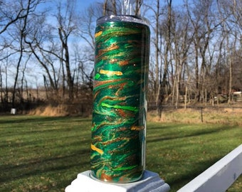 Greens, Gold, Copper, and Bronze Swirl and Dance Sparkling Epoxy Resin Tumbler 20/30-ounce Stainless Steel with Lid, Straw, Alcohol Inks