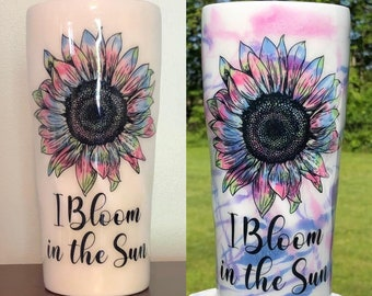 Solar Color Changing Tumbler, Sunflower, I Bloom in the Sunshine, Pink, Purple, Blue, Reacts to Sunlight, 20-oz Stainless Steel Cup w/Lid