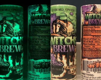 """Glowing """"Witch's Brew"""" <--Correct Spelling! Sparkly Resin Cup, Gross Ingredients Label, Halloween, 20-oz Skinny Straight Tumbler, Sublimated"""