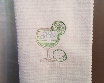 Margarita Towel - Margarita Hand Towel - Margarita Kitchen Towel - Daiquiri Tea Towel - Hand Towel - Embroidered Towel - Summertime Towel