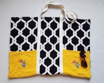 Beach Bag - Beach Tote - Beach Bag Tote - Towel Beach Bag - Handmade Beach Bag - Large Beach Tote - Yellow Pool Bag - Navy Blue Beach Tote