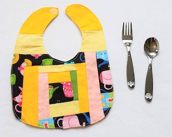 Teapot Bib - Quilted Baby Bib - Baby Bib Handmade - Baby Shower Gift - Baby Bib - Custom Baby Gift Idea - Cuddles and Keepsakes