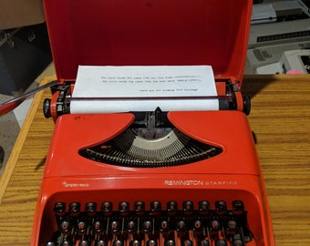 1960's Red Remington Starfire portable typewriter - an absolute beauty!