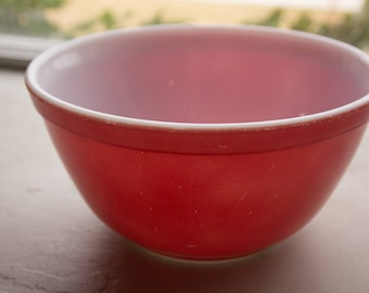 Red Milk Glass Mixing Bowl