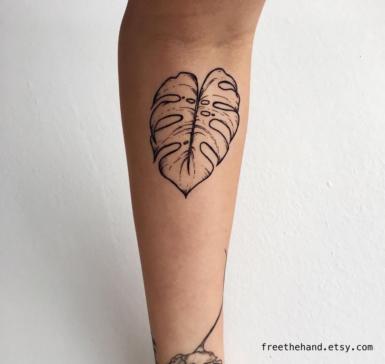 Henna Tattoo Kits Ireland: Monstera Leaf Temporary Tattoo Set Of 2