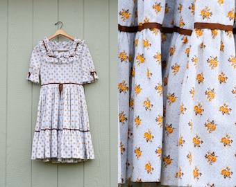 Vintage 70s Calico Prairie Floral tiered summer dress Midi sundress size Small Medium 1970s Retro