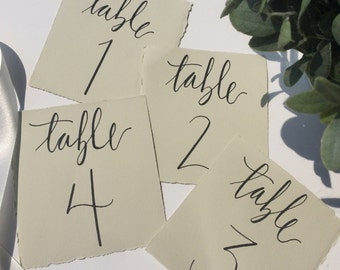 Table Numbers, Custom Calligraphy