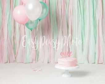 Cake Smash Digital Backdrop Baby Boy Navy Blue White Grey