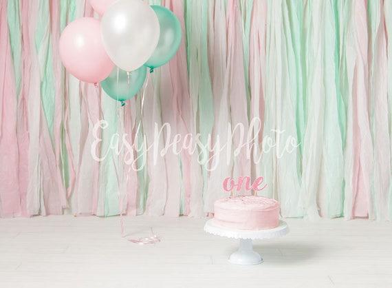 1 Geburtstag Ein Kuchen Zerschlagen Digitale Hintergrund Etsy