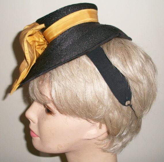 Antique 1940's Black Straw Tilt Hat - image 2