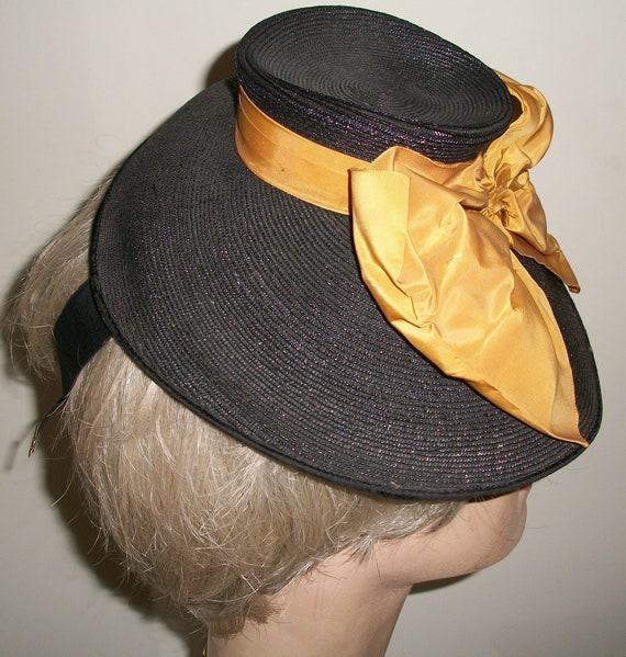 Antique 1940's Black Straw Tilt Hat - image 4
