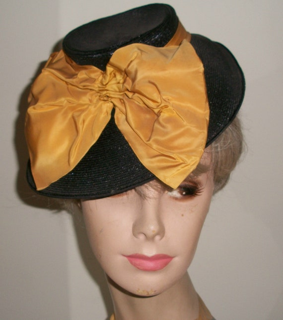 Antique 1940's Black Straw Tilt Hat