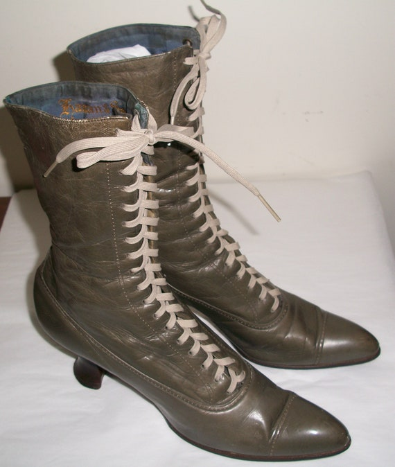 Antique Olive Green Victorian Boots