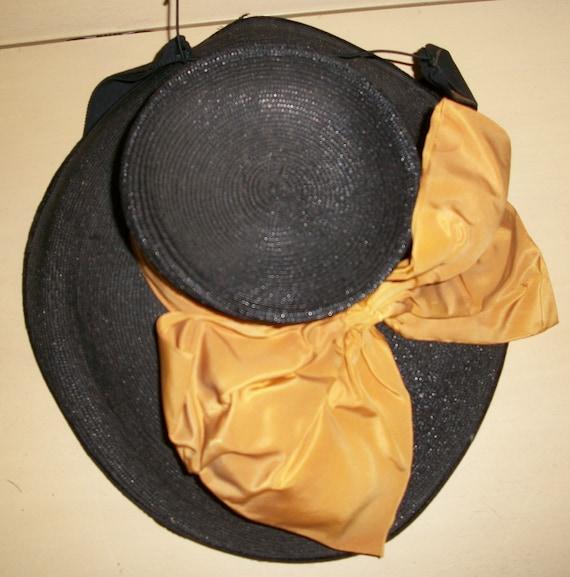 Antique 1940's Black Straw Tilt Hat - image 6