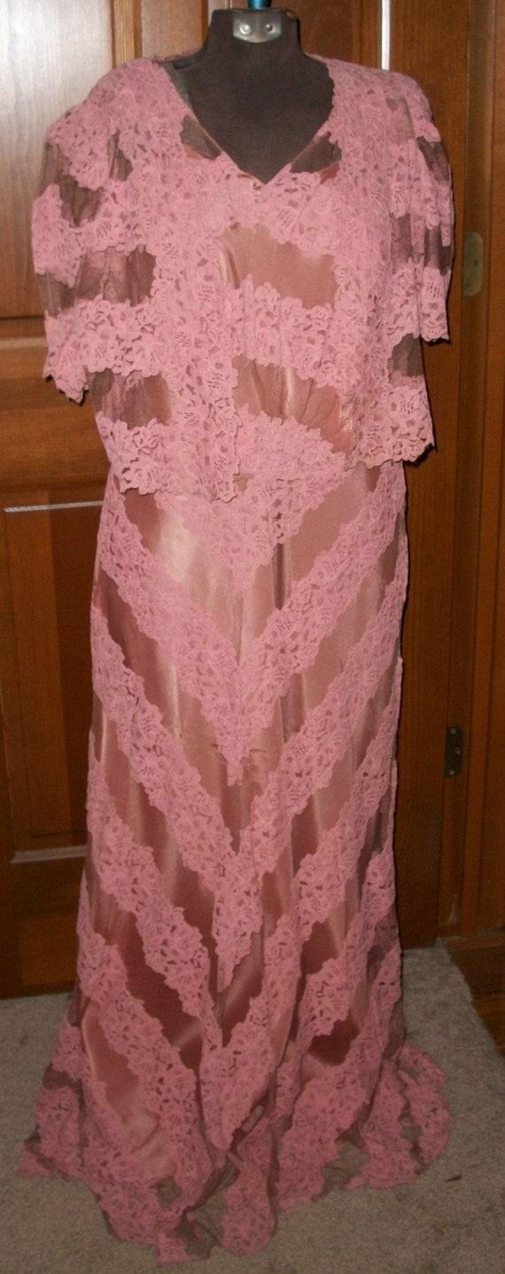 Vintage 1930's Long Pink Lace Dress, Bolero and Sl