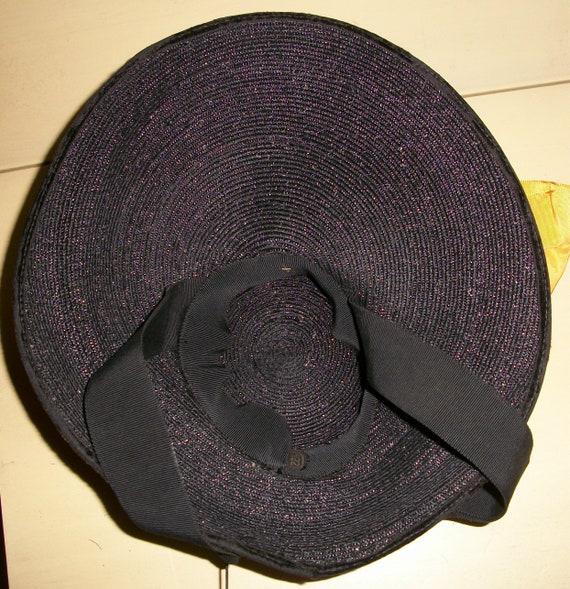 Antique 1940's Black Straw Tilt Hat - image 5