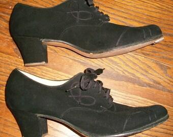 1930's Black Suede Tie Shoes