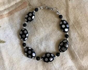 Silvery Black Flat Beaded Bracelet