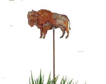 Buffalo Plant Pick, Garden Gift, Metal Garden Stake