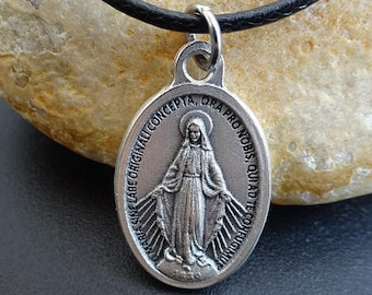 925 Argent Sterling Poli Queen of the Holy scapulaire Massif Médaille