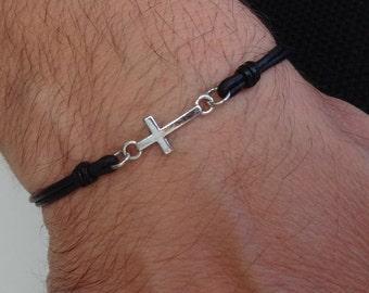 Mens Cross bracelet, Men's Cross bracelet, leather cross bracelet, small cross bracelet, Religious bracelet, christian leather bracelet