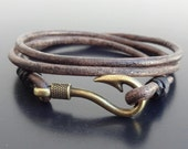 Fish Hook bracelet, Fish Hook Leather Bracelet, Mens Hook bracelet, Leather wrap bracelet, Leather Cuff bracelet, nautical leather bracelet
