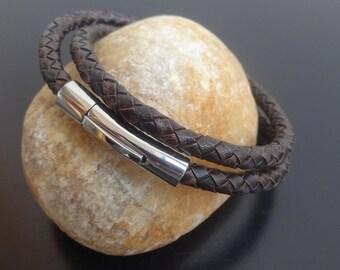 Mens braided leather bracelet, men's braided leather bracelet, braided leather bracelet stainless steel clasp, wrap leather bracelet, cuff