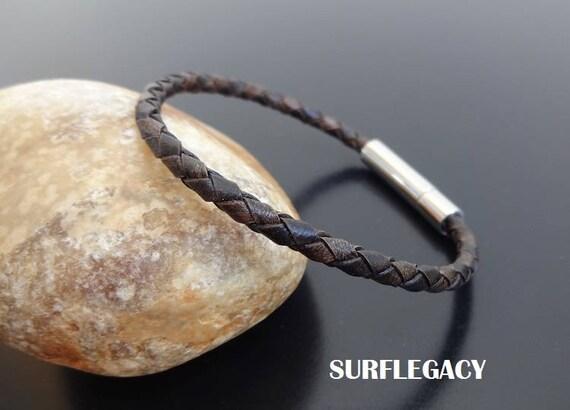 Mens Leather Bracelet Mens Braided Leather Bracelet Leather Etsy