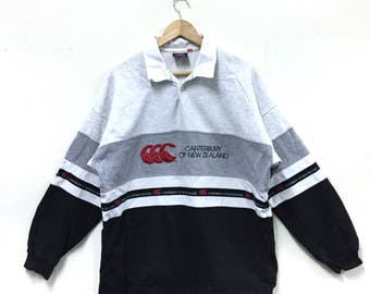 Rare!!! Canterbury Of New Zealand Sweatshirt Canterbury Rugby Big Logo Spellout Embroidery