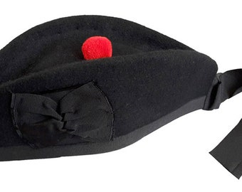 1ee8f8f87e1 Scottish wool glengarry hat black watch pipe band beret bonnet red toorie  ribbon pom pom